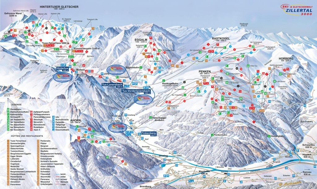 Mayrhofen ski map all extreme