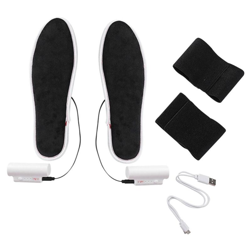 Unisex Electric USB Heated Shoe Insoles with Ankle Bracelet Battery
