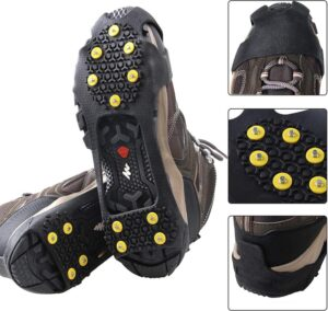 Ice Traction Shoe Cleats Silicone Nonslip Anti-Skid Ice Snow Silicone Shoes Cover Grippers Spikes Grips Climbing Hiking Crampons