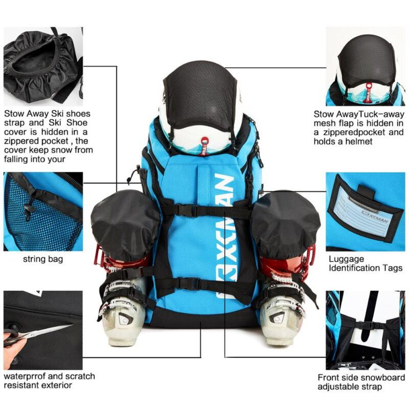 XCMAN Ski Boot Backpack Lightweight and Durable Ski Bag-Stores Gear Including Helmet, Snowboard,Boots,Goggles, Gloves & Accessor