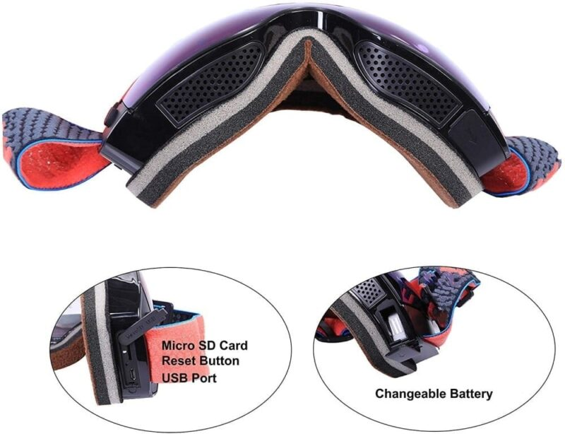 4K Ultra Ski Goggles with 1080P 60fps Camera, Anti-Fog UV400 Protection Lens