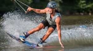 wakeboarder sliding on the water