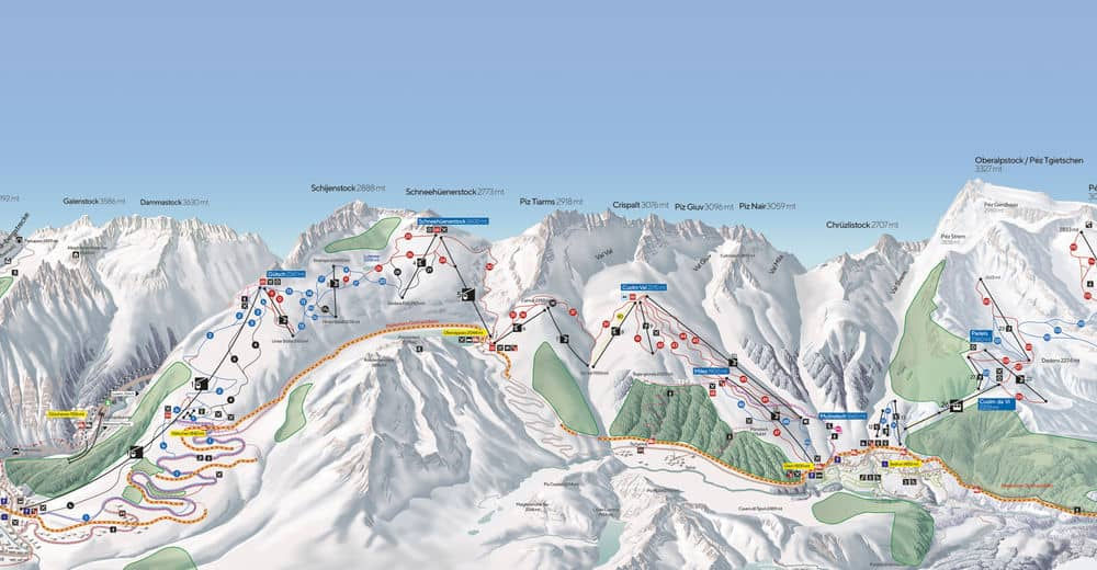 Map ski slopes andermat sedrun