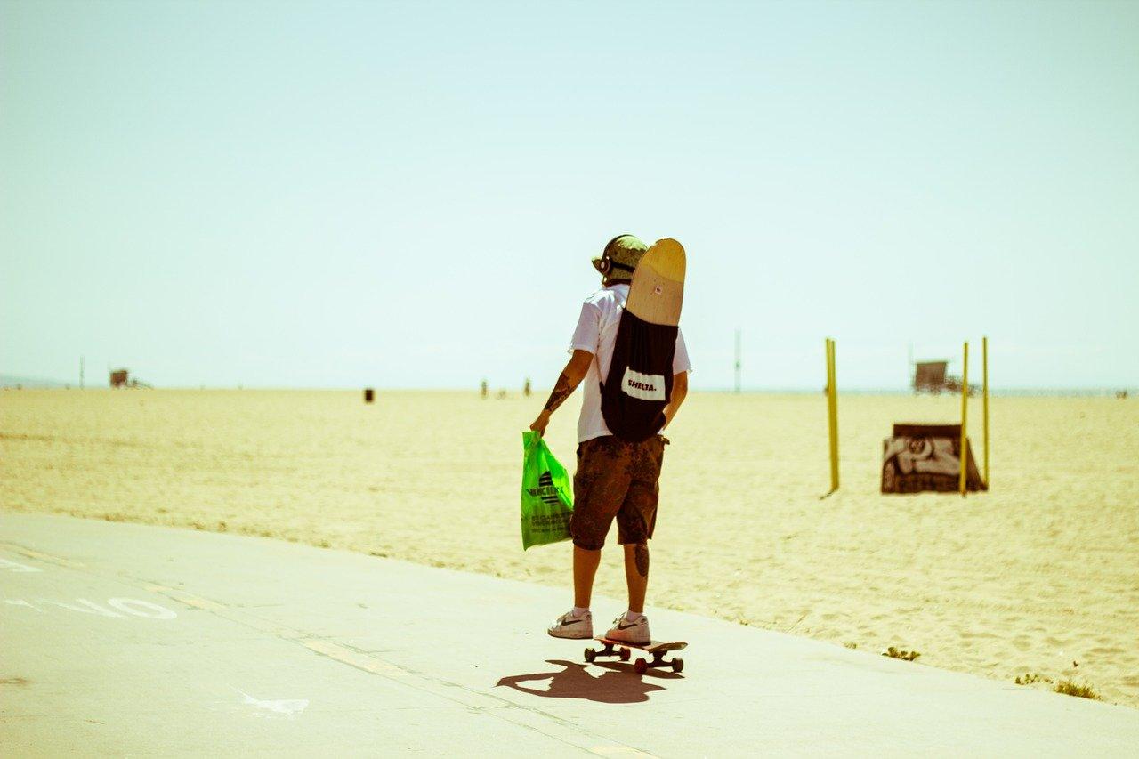 skateboarding on the beach in california