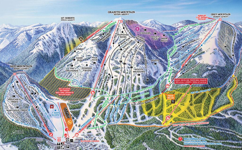 Red mountain ski map